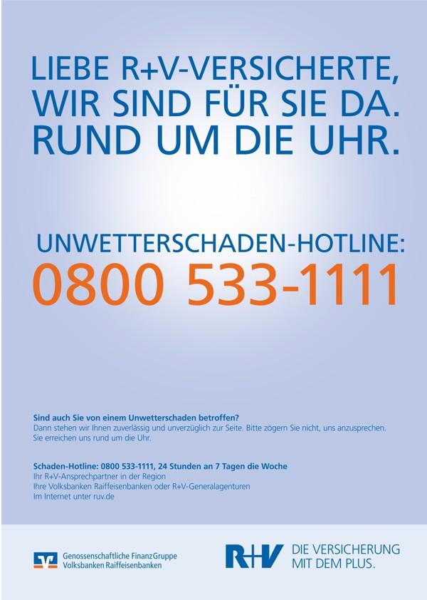 Unwetterschaden-Hotline, 08005331111