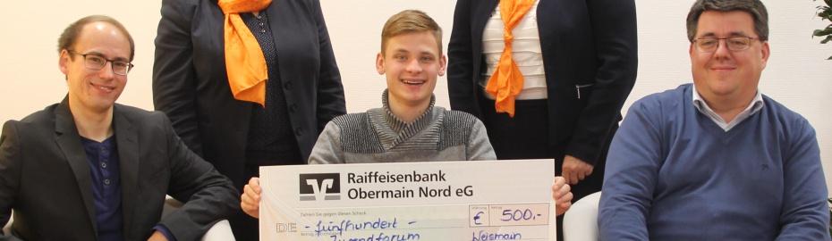 Spendenübergabe, Jugendforum Weismain, Raiffeisenbank Obermain Nord eG, Udo Dauer