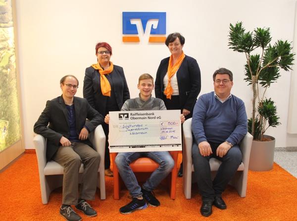 Spendenübergabe Raiffeisenbank Obermain Nord eG, Jugendforum Weismain