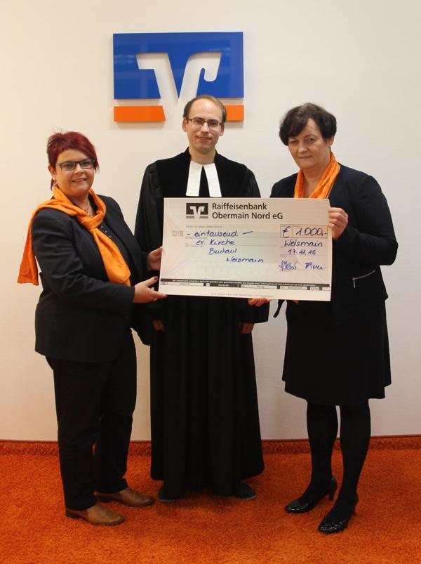 Spendenübergabe, Kirchengemeinde Weismain Buchau, Raiffeisenbank Obermain Nord