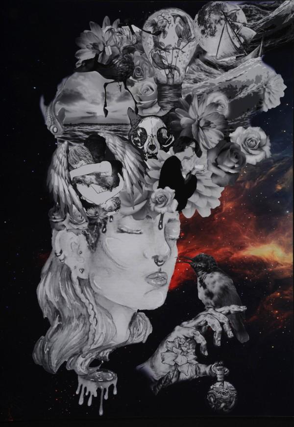 """Platz 3 - Gewinnerin: Johanna G. (Gymnasium Burgkunstadt) Titel: """"head-space – Bilder im Kopf"""""""