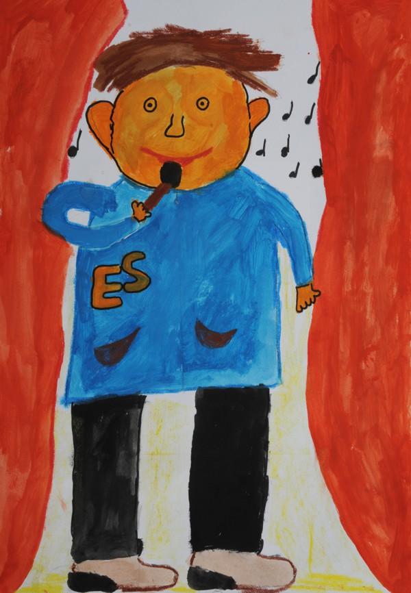 """Platz 1 - Gewinner: Elias N. (Grundschule Leuchenstal) Titel: """"Der Sänger"""""""