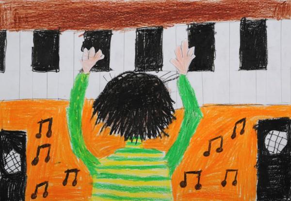 """Ebenfalls Platz 3 - Gewinner: Salar A. (Grundschule Ebern) Titel: """"Ein Klavierspieler"""""""