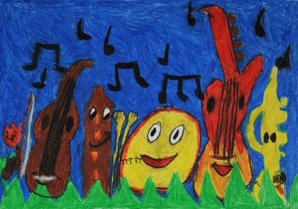 """Ebenfalls Platz 3 - Gewinnerin: Guiliana Z. (Grundschule Ebern) Titel: """"Die fröhlichen Instrumente"""""""