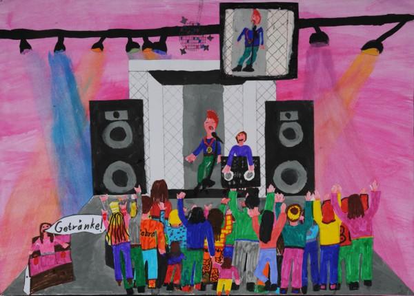 """Platz 1 - Gewinnerin: Samara S. (Grundschule Weißenbrunn) Titel: """"Musik bewegt – Discoabend mit Livemusik"""""""