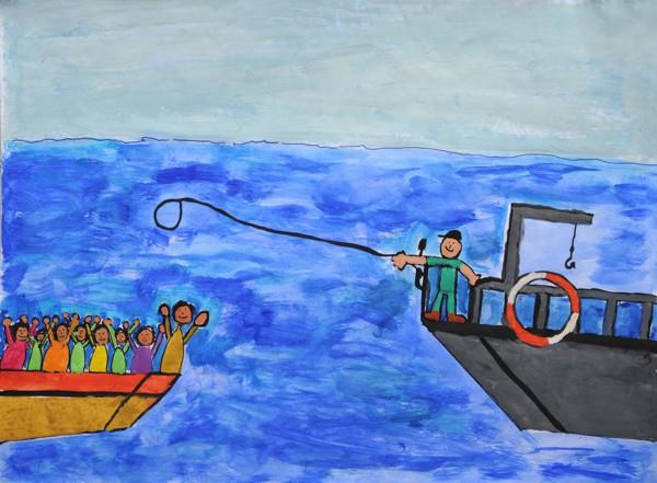 Retter-Helden bei Flüchtlingsboot (Marc-Leon S., Klasse 3/4)